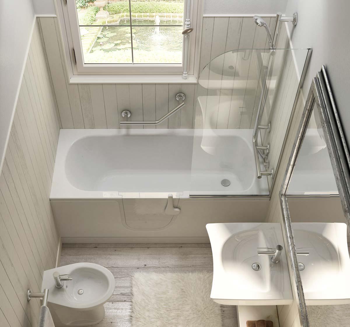 Puertas De Baño Para Discapacitados:Bathtub with Door for Elderly